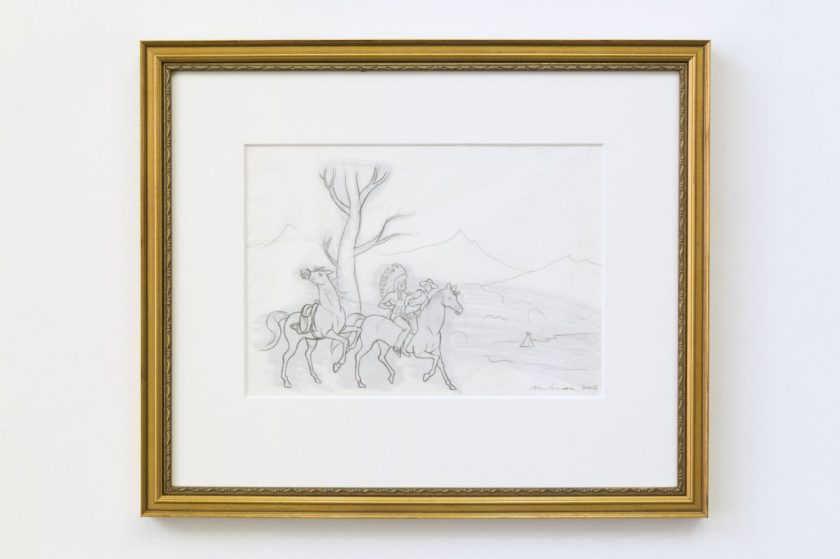 "Kent Monkman, sketch for ""red man teach white man how to ride bareback"". It's a pencil sketch, grey on white, with a cold frame. In the background, mountains, then a bare tree; in the foreground, two horses and two human figures, one with a feather headdress and one with a cowboy hat, both pantsless and on the same horse. Image from neverapart.com"